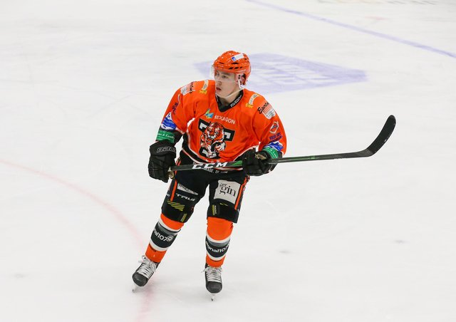 Kieran Brown, pictured in action during the Spring Cup for Telford Tigers, is backed to one day make the GB senior team. Picture courtesy of Andy Bourke/Podium Pictures.