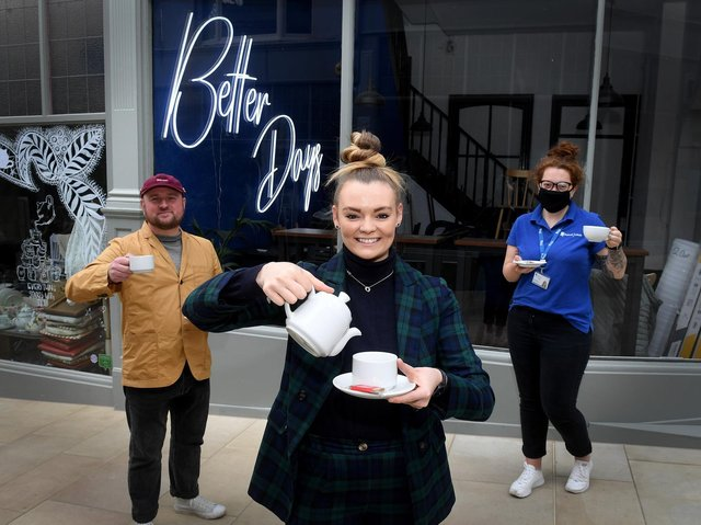 Pictured outsidee at Better Days, Grand Arcade, Leeds, from (L to  R) are Danny Bulmer from Good Footing, Vicky Fytche owner of Better Days Coffee House and Charli Brunning from Leeds Mind  Picture by Simon Hulme