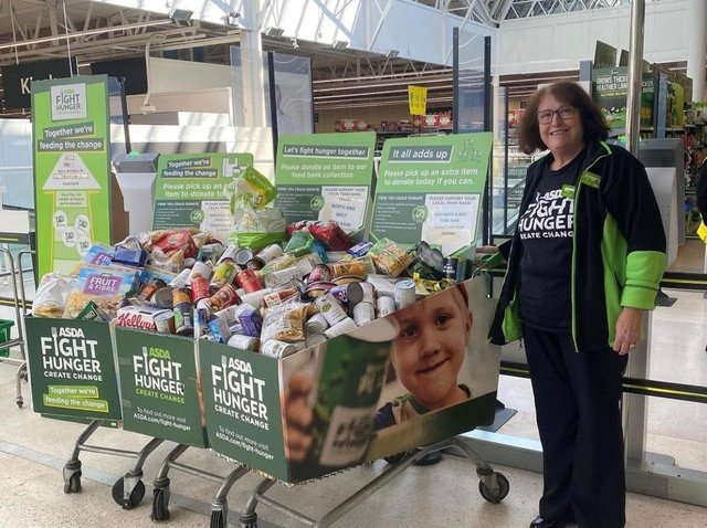 Food collected at Asda's Pudsey store in Leeds.