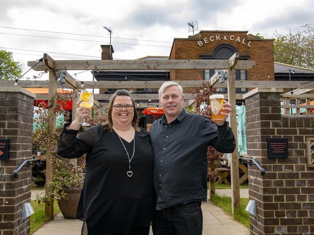 Nikki Grover and Ben Murray, managers of the Beck & Call in Meanwood