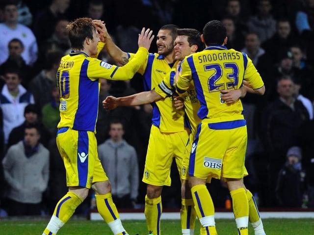 Leeds United celebrate scoring against Burnley at Turf Moor in 2010.