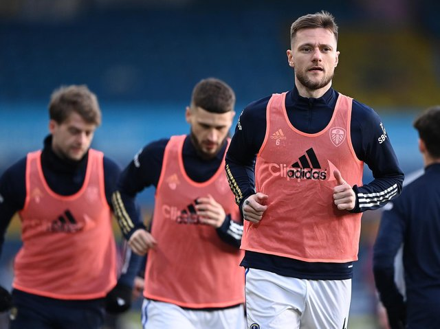 Leeds United club captain Liam Cooper warms up at Elland Road. Pic: Getty