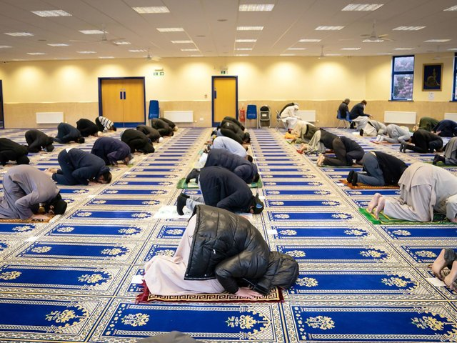 Worshipers at the Leeds Makkah Mosque in Yorkshire ahead of the start of Eid al-Fitr. The celebration marks the end of the Muslim month of fasting, called Ramadan. Picture date: Wednesday May 12, 2021.