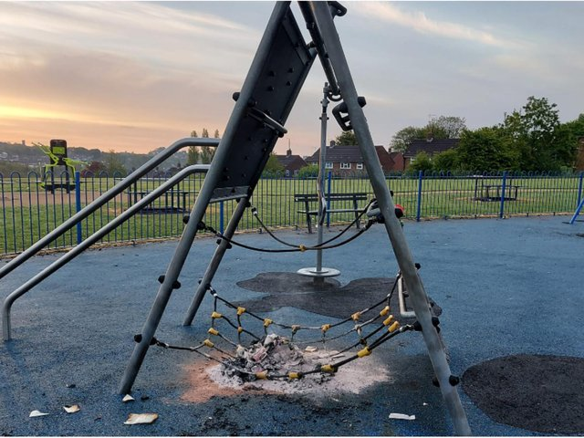 This shocking picture shows the aftermath of vandalism at a newly refurbished Leeds park.