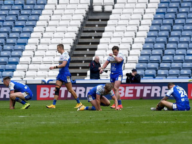 Heartbreak for Rhinos after they lost to Huddersfield on the final kick. Picture by Simon Hulme.