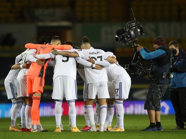 Leeds United in a huddle ahead of kick-off at Elland Road. Pic: Getty