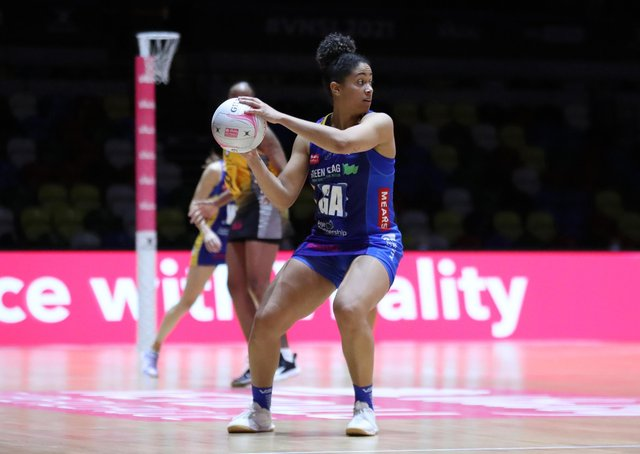 Rhea Dixon of Leeds Rhinos  in action during the match between Leeds Rhinos and Wasps on day four of round 14 of the Vitality Netball Superleague at Copper Box Arena on May 03, 2021 in London, England. (Picture: Morgan Harlow/Getty Images)