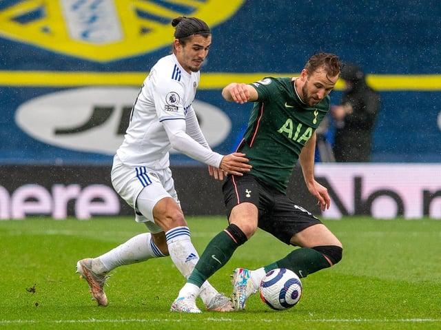 Leeds United defender Pascal Struijk challenges Tottenham Hotspur striker Harry Kane at Elland Road. Pic: Bruce Rollinson