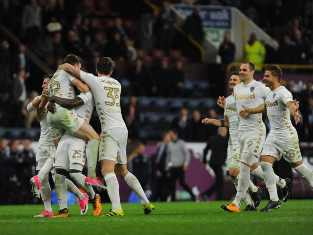 FAMILIAR FACES: Leeds United mob Stuart Dallas after his winning spot kick at Burnley of September 2017 in which Luke Ayling, Gaetano Berardi, Mateusz Klich, Gjanni Alioski and Pablo Hernandez all finished the game. Photo by Nathan Stirk/Getty Images.
