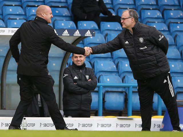 MUTUAL RESPECT: Between Burnley boss Sean Dyche, left, and Leeds United head coach Marcelo Bielsa, right, pictured before December's Premier League clash at Elland Road. Photo by NIGEL FRENCH/POOL/AFP via Getty Images.