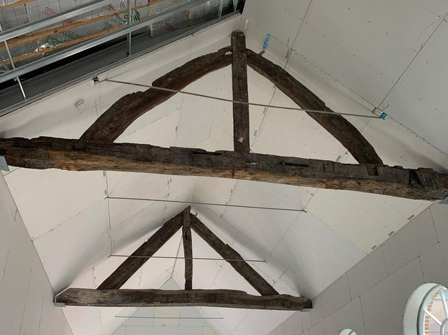 Contractors discovered the oak wooden trusses that they believe are more than 500 years old in February 2021. Photo: Rushbond