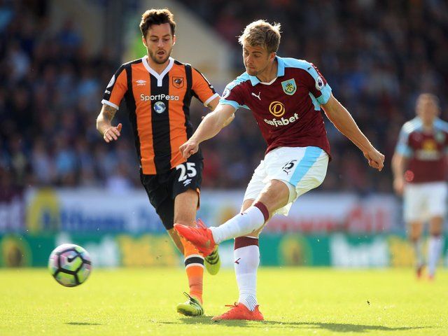 RARE SIGHT: Patrick Bamford, right, in action for Burnley as a late substitute against Hull City back in September 2016. Photo by Ben Hoskins/Getty Images.