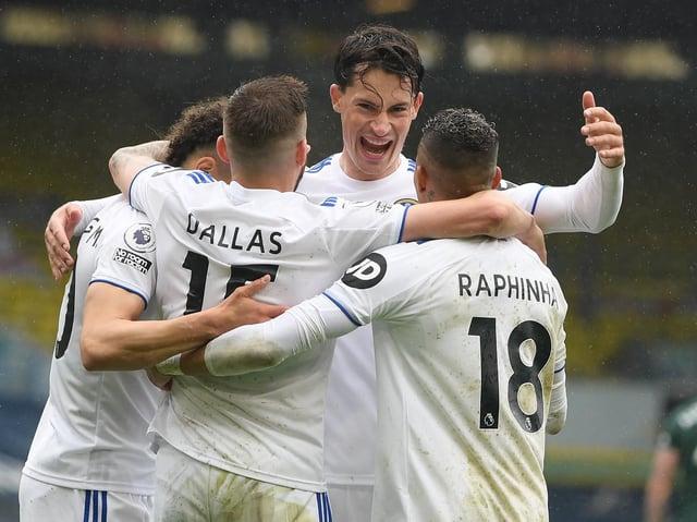Leeds United defender Robin Koch celebrates at Elland Road. Pic: Getty