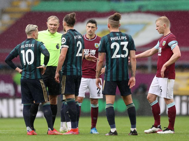 REFEREE REPORT - Sean Dyche said one of his players made a report to referee Graham Scott during Burnley's game with Leeds United. Scott then spoke to Gjanni Alioski on the pitch, with captain Luke Ayling present. Pic: Getty