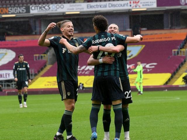 Rodrigo celebrates scoring for Leeds United at Turf Moor. Pic: Simon Hulme