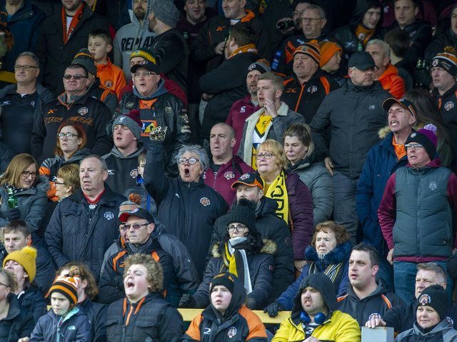 Castleford Tigers fans at last year's home game against St Helens. Picture by Tony Johnson.