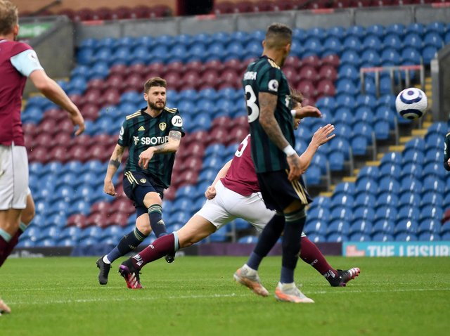 GOOD DAY - Mateusz Klich was back amongst the goals for Leeds United with a fine curling effort that beat former team-mate Bailey Peacock-Farrell in the Burnley goal. Pic: Simon Hulme
