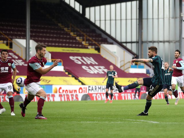 CLASSY STRIKE: Leeds United's Polish international midfielder Mateusz Klich fires the Whites in front in Saturday's 4-0 victory at Burnley. Photo by Carl Recine - Pool/Getty Images.