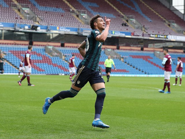 QUICK DOUBLE: Leeds United's record signing Rodrigo celebrates scoring the first goal of his rapid brace in Saturday's romp at Burnley. Photo by Martin Rickett - Pool/Getty Images.