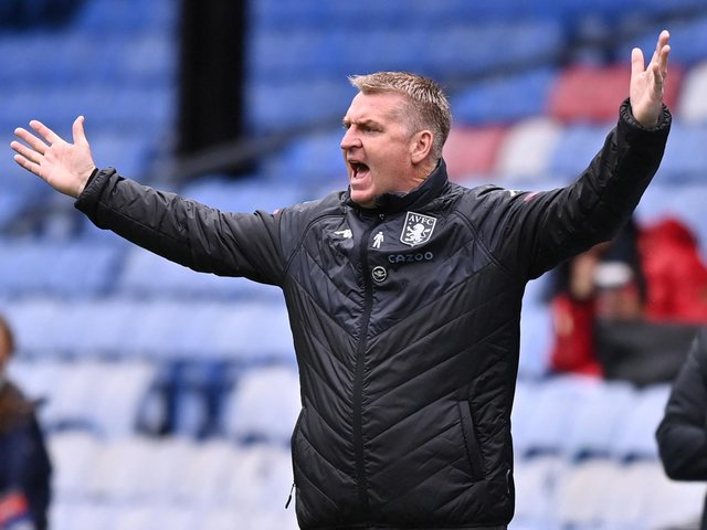SETBACK: For Aston Villa boss Dean Smith who saw his side fall to a 3-2 defeat at Crystal Palace on Sunday which left 11th-placed Villa four points behind Leeds with two games left. Photo by JUSTIN SETTERFIELD/POOL/AFP via Getty Images.