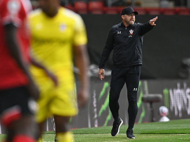 ENCOURAGED: Southampton boss Ralph Hasenhuttl, right, during Saturday's 3-1 victory at home to Fulham. Photo by GLYN KIRK/POOL/AFP via Getty Images.