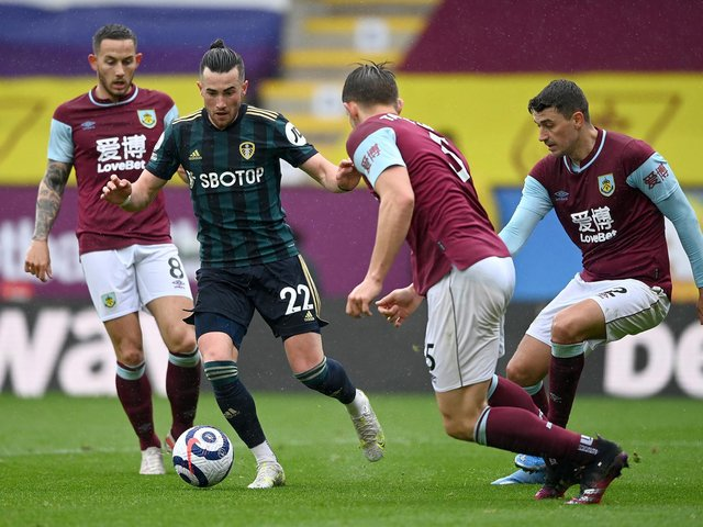 IN THE HUNT: Leeds United winger Jack Harrison draws in Josh Brownhill, James Tarkowski and Matthew Lowton during Saturday's 4-0 victory against Burnley at Turf Moor. Photo by Gareth Copley/Getty Images.
