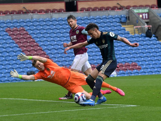 'ELECTRIC': Leeds United's record signing Rodrigo quickly completes a brace by firing past former Whites goalkeeper Bailey Peacock-Farrell in Saturday's 4-0 win at Burnley. Picture by Simon Hulme.