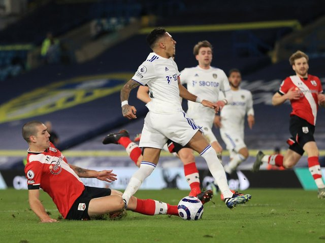 SAINTS BOOST: Oriol Romeu, left, has not featured for Southampton since injuring his ankle in February's 3-0 defeat against Leeds United at Elland Road, above. Photo by Mike Egerton - Pool/Getty Images.