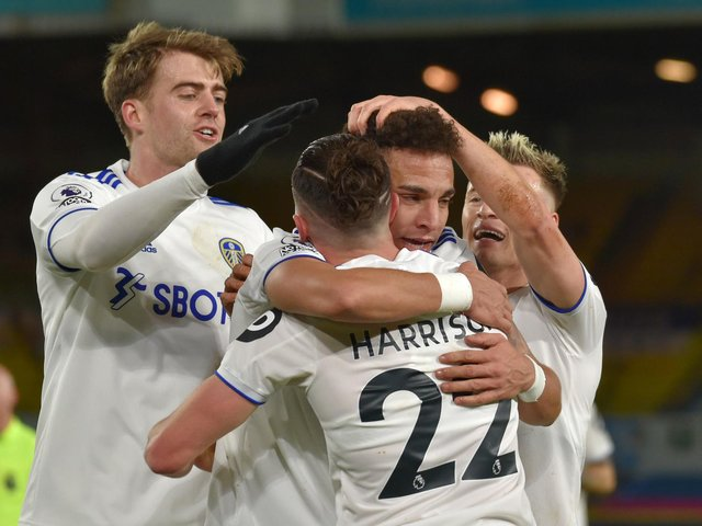 OPTIONS: Leeds United winger Jack Harrison, right, hugging record signing Rodrigo as top scorer Patrick Bamford, left, moves in during December's victory at home to Newcastle United. Photo by Rui Vieira - Pool/Getty Images.