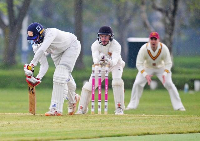 Kavundu Kulasekara of Morley keeps his back foot down as Methley wicketkeeper Eitan Litvin attempts a stumping. Picture: Steve Riding.