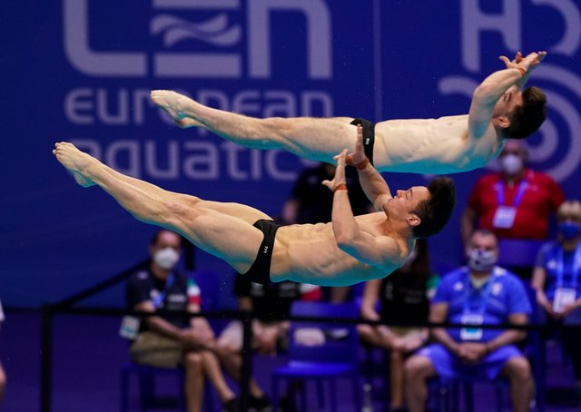 Thomas Daley of Great Britain and Matthew Lee of Great Britain compete in the Men's Synchronised 10M Platform Final during the LEN European Aquatics Championships Diving at Duna Arena on May 15, 2021 in Budapest (Picture: Andre Weening/BSR Agency/Getty Images)