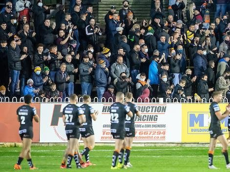 Tigers players applaud their fans after Monday's loss to Hull KR. Picture by Allan McKenzie/SWpix.com