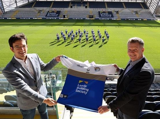 Rhinos commercial director Rob Oates, right, with Phil Fearon, chief executive of Leeds Building Society who have extended their sponsorship of the club despite the pandemic.