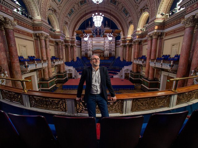 Chris Fell, manager of the Leeds International Film Festival, pictured at Leeds Town Hall. (photo: Bruce Rollinson)