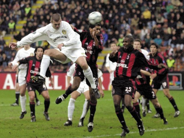 'THAT' GOAL: Dom Matteo heads Leeds United in front against AC Milan at the San Siro in the Champions League clash of November 2000. Picture by John Giles/PA Wire.