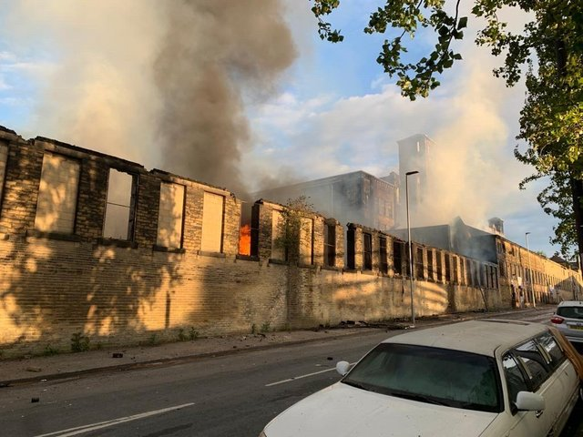 The fire on Legrams Lane in Bradford. Photo: West Yorkshire Fire & Rescue.