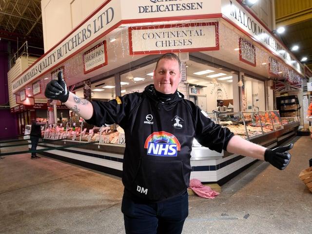 Danny Malin at Malcolm Michael's Butchers, Kirkgate Market, Leeds (photo: Simon Hulme)