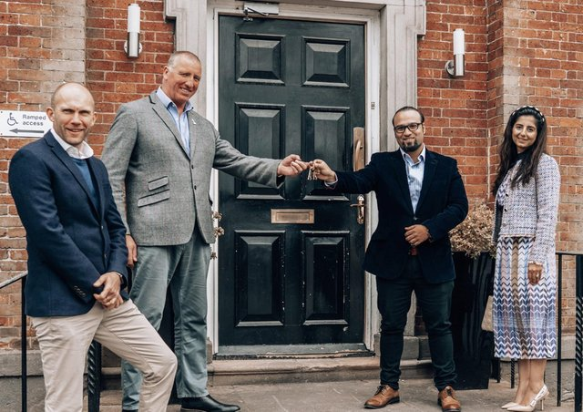 (Left to right) Anthony Sutton, chief operating officer of the Rugby Football League; Ralph Rimmer, chief executive of the Rugby Football League; Dr Faisal Arshad and his wife and business partner Sommiya.