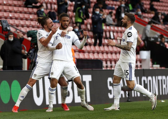 Leeds United's Tyler Roberts (centre) celebrates scoring at Southampton (Picture: PA)