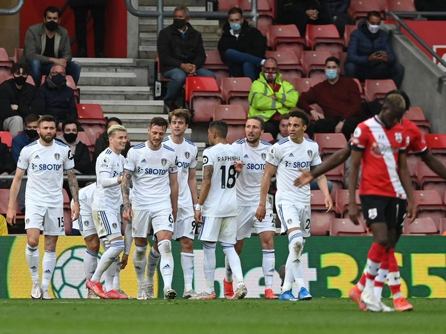 JOB DONE: For Leeds United and Patrick Bamford, back middle, as Tuesday evening's 2-0 win at Southampton, above, sealed a Premier League top-half finish for the first time in 19 years. Photo by Neil Hall - Pool/Getty Images.