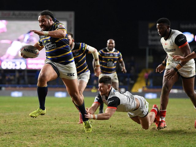 Konrad Hurrell on his way to scoring against Toronto in March, 2020 - the last time Rhinos played in front of a crowd. Picture by Jonathan Gawthorpe.