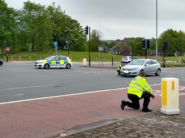 The scene of the collision on Kirkstall Road.