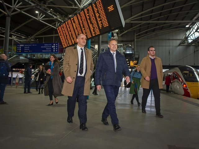 Transport Secretary Grant Shapps at Leeds Station.