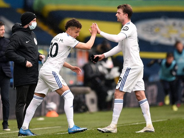 Leeds United's Patrick Bamford is replaced by Rodrigo at Elland Road. Pic: Getty
