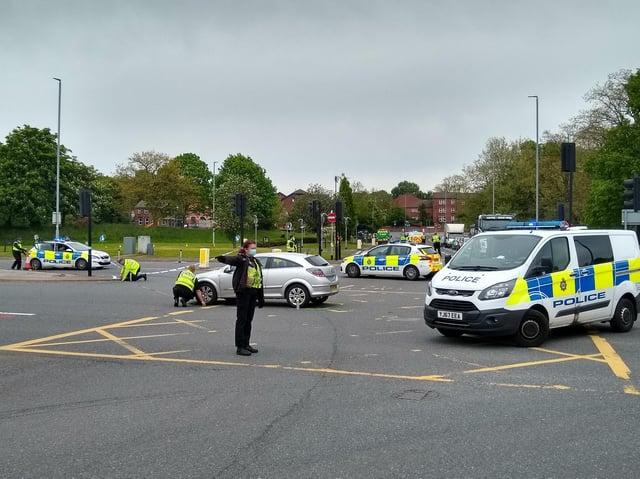 The crash scene on Kirkstall Road.