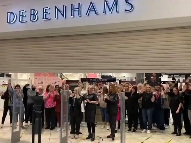The shutters go down at Debenhams White Rose for the final time.