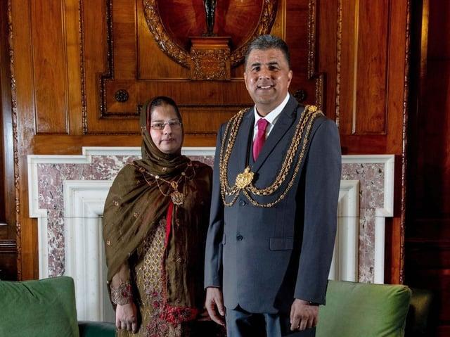 Mayor Asghar Khan with Lady Mayoress Robina Kosar.