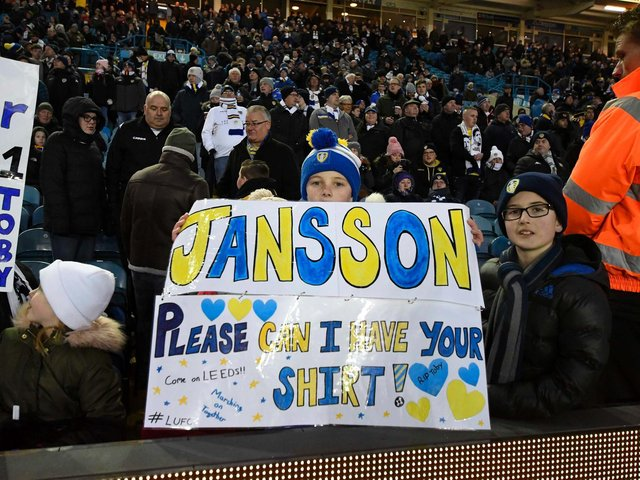 The Elland Road faithful show their support for Pontus Jansson ahead of Leeds United's Championship clash against Norwich City in February 2019.