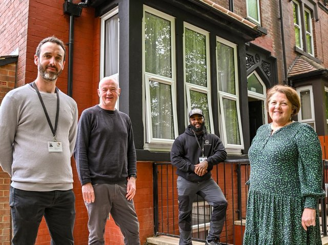 The front of the house after the renovation - pictured: Joe Brown (refurb team manager), James Hartley (Latch CEO), Ryan Jeffers (refurb worker), Councillor Jane Dowson