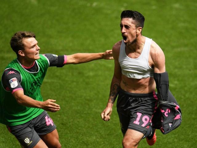 Leeds United's Pablo Hernandez celebrates at Swansea City. Pic: Getty